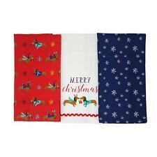 Tres Navidad Perro Salchicha Copos de Nieve Rojo Azul 100% Algodón Paños Cocina