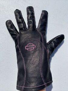 Harley-Davidson Women's PINK LABEL Leather Motorcycle Riding Gloves Black Large