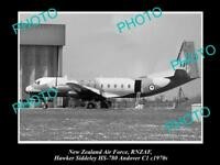 HISTORIC AVIATION PHOTO OF RNZAF NEW ZEALAND AIR FORCE HAWKER SIDDELEY 1970s