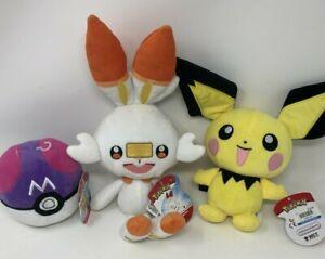 "100% WCT Official Pokemon 9"" Pichu,4.5"" Masterball, 14"" Scorbunny 2019 NEW TAGS"