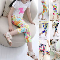 Kids Child Infant Girl Cropped Trousers Stretchy Leggings Summer Pencil Pants US