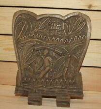 Antique African hand carving wood wall hanging plaque landscape