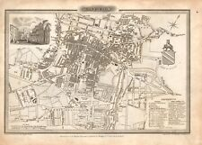 1824 ANTIQUE MAP-TOWN PLAN - BOLTON, LANCASHIRE, PIGGOT
