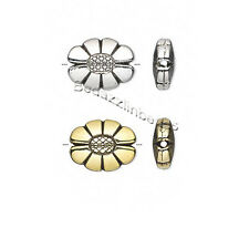 6 Big Metalized Plastic Acrylic Metallic 20mm x 15mm Flat Oval Flower Beads