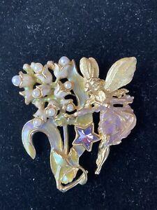 Kirks Folly Pearl and Star Fairy Brooch - Vintage - RARE