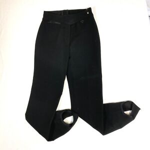 Vintage Obermeyer Womens Size 10L Black Stirrup Pants Ski Pants Wool
