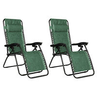 Camco Open Air Zero Gravity Reclining Lounge Chair 51811 Green Swirl - 2 Set