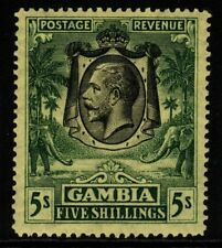 More details for gambia sg141 1926 5/= green/yellow mtd mint