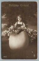 Easter Egg Girl RPPC Antique Studio Photo Flowers—German Postcard 1915