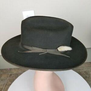 Stetson Royal Deluxe Open Road Fur Felt Cowboy Western Hat In Brown Size 7 1/4