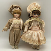 Antique German Reproduction Dolls Boy & Girl  In Fantastic Victorian Costume 12""