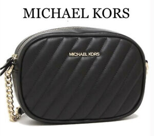 Michael Kors Rose Vegan Faux Nappa Leather Quilted Chain Small Crossbody Bag New