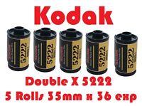 Kodak EASTMAN 5222 DOUBLE-X Five Pack Black & White 35mm x 36 Exp Film Fresh