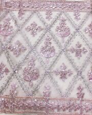 "Dusty Pink FLORAL Embroidered Mesh Fabric 12""W BTY for Sabai Wedding Tablerunner"