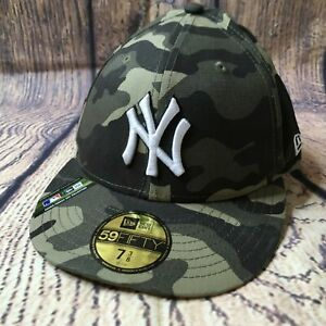 New Era MLB Mens Size 7 3/8 Camo New York Yankees Armed Forces 59Fifty Fitted Ha