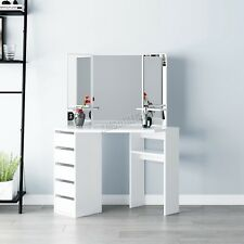WestWood Makeup Jewelry Wood Dressing Table 3 Large Mirrors 5 Drawers DT07 White