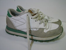 REEBOK CLASSIC TRAINER Jogger/Tennis Shoes GREEN/WHITE Suede RETRO 80's US SZ 6