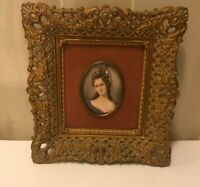 Vintage Cameo Creations Gold Ornate Frame, Portrait, Bubble Glass, Victorian