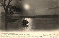 Vintage Postcard - 1906 Moonlight On The Hudson River New York NY #3593