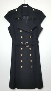 Calvin Klein Women's Coat Dress Black Size 14 Double-Breasted Sleeveless