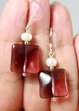 Brownish Purple Chalcedony Quartz & White Pearls Sterling Silver Earrings