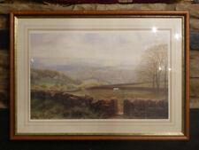 "K MELLING Art Print ""Heptonstall & Stoodley Pike, Yorkshire"" Dales fields horses"
