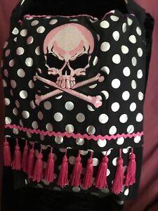 "Skull And Crossbones Bag/purse 12""x 14"" BlackW/ Silver Polka Dot Pink Accents"