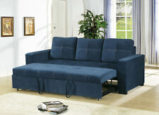 Modern Living Room Guest Convertible 3 Seater Sofa Pull Out Bed Navy Fabric Home