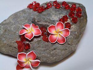 Statement Kette Collier Halsschmuck Halskette Hot Cubes & Flowers Blüten Rot