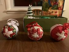 Six Handcrafted Beautiful Custom New Red White Green Christmas Bulb Ornaments