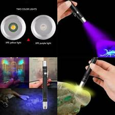 2 IN 1 LED UV Lampe Torche Stylo Pince Lumière Blanche 395nm Bara Neuf