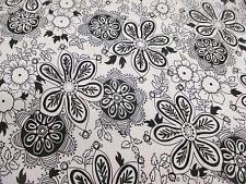 4 Metres White with Black Hippy Flowers, Floral Cotton/Spandex Dress Fabric.
