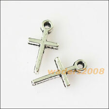 60 New Tiny Smooth Cross Tibetan Silver Tone Charms Pendants 7x13mm