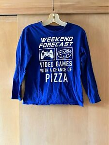 Pre-owned Boy's Sz L (10/12) The Place Blue/White Screen Print Long Sleeve Shirt