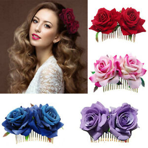 Bridal Boho Rose Flower Hair Comb Clip Hairpin Wedding Party Hair Accessory