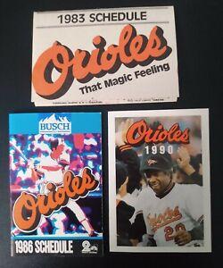 3x vintage Baltimore Orioles Pocket Schedules, 1983, '86 & '90