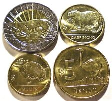 URUGUAY Set of 4 New ANIMAL Coins 2012-2015 One Bimetallic BU PPD-USA! From USA!