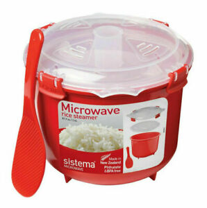 Sistema Microwave Rice Cooker 2.6L Vegetable Pasta Steamer Cook BPA Free Spoon