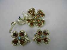 Gorgeous LISNER Amber  & AB Rhinestone Brooch & Clip Earring Four Leaf Clover