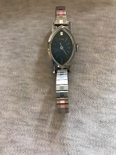 Vintage Timex Blue Dial Ladies Silver Tone Stretch Band Wind Up Watch