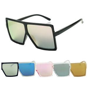 ShadyVEU Oversized Fashion Chic Flat Top Rectangular Mirrored Womens Sunglasses