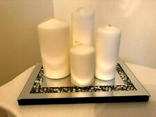 Crushed Crystal Mirror Rectangle Tray Candle Tealights Home Decor Wedding