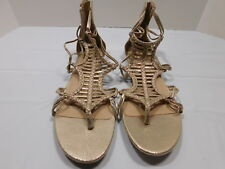 New! Aldo Beige Metallic Leather  Zip Back Gladiator Thong Sandals....11 B