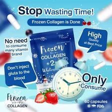 Frozen Collagen Glutathione 2 in1 Whitening X10 Anti-Aging Reduce Acne 60 caps.