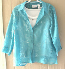 ALFRED DUNNER 16P Turquoise Burnout Shirt Attached Bejeweled White Tank