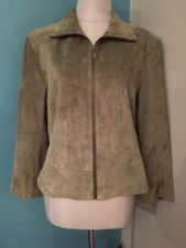 L Uniform John Paul Richard Green Leather Suede Zip Up Lined Jacket