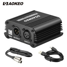 Aokeo Channel 48V Phantom Power Supply+XLR 3 Pin Microphone Cable+USB Cable