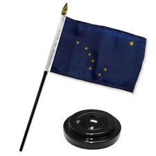 "Alaska State Flag 4""x6"" Desk Set Table Stick Black Base"