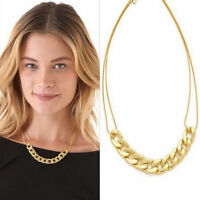 Charm Double Chains Necklace Gold Plated Circles Collar Pendant Necklaces D4W