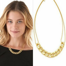 Vintage Double Chains Necklace Gold Plated Circles Collar Pendant Necklace Fp